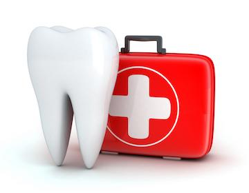 Illustration of tooth with first aid kit